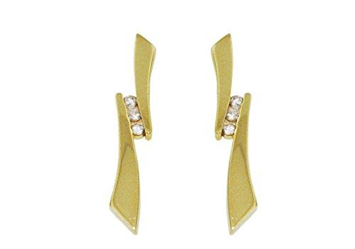 3Or jaune 9Ct Pierre-Boucles d'Oreilles Pendantes Femme-Diamant