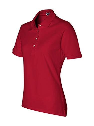 Womens Cross Red Cardinal - Jerzees womens 5.6 oz. 50/50 Jersey Polo with SpotShield(437W)-TRUE RED-XL
