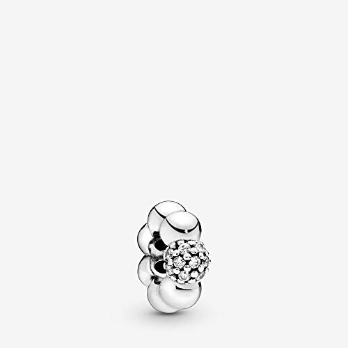 PANDORA Polished & Pave Bead Spacer 925 Sterling Silver Charm - 798310CZ