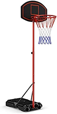 Giantex Portable Basketball Hoop Adjustable Height 6.5 - 8.5 FT, Backboard System Stand with 2 Wheels, Fillabl