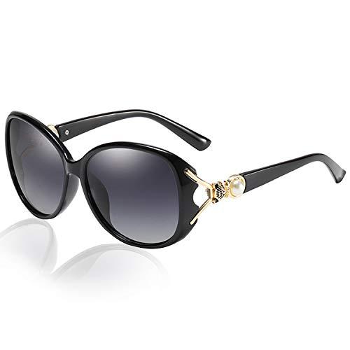 // Grey HD Polarized Lenses Fashion Polarized Sunglasses for Women Glossy Finish Black Oversized Retro Frame Ladies Eyewear for Driving 100/% UV400 Protection