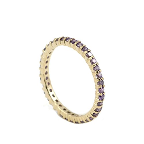 2mm Full Eternity Wedding Band Round Simulated Purple Amethyst Yellow Tone Plated 925 Sterling Silver