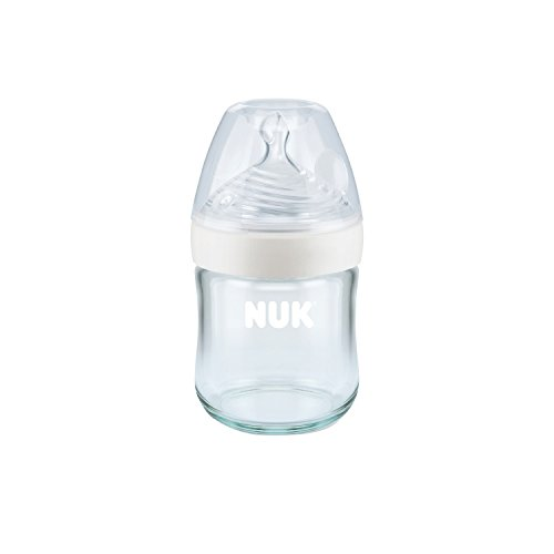 NUK Simply Nautral Glass Baby Bottle, Clear, 4oz 1pk (4 Oz Glass Baby Bottles)