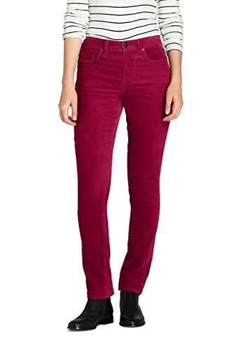 (Lands' End Women's Petite Mid Rise Straight Leg Corduroy Pants, 10 28, Cranberry)