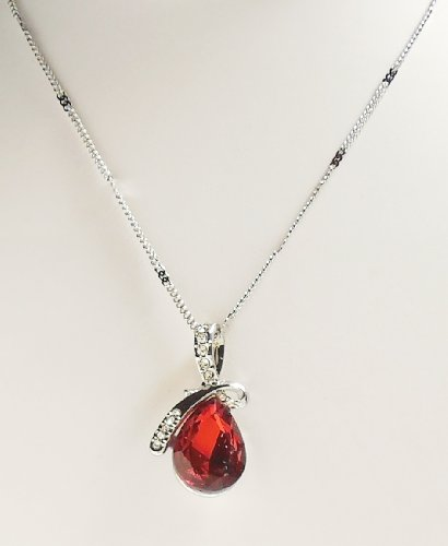 Necklace - Deep Red Eternal Love Teardrop Crystal Pendant Necklace - Kiki's Deep Red by kikisjewels (Image #2)