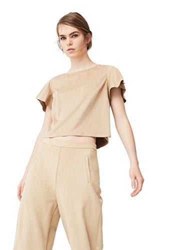 mango-womens-ruffled-sleeve-blouse-medium-brown-xs