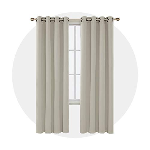 Deconovo Light Beige Blackout Curtains 95 Inch Length Grommet Thermal Insulated Drapes and Curtains for Living Room 2 Panels 52x95 Inch
