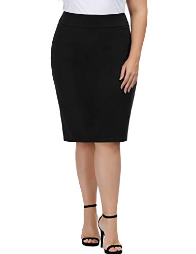 Hanna Nikole Women's Plus Size High Waist Stretch Bodycon Pencil Skirt Black 22W