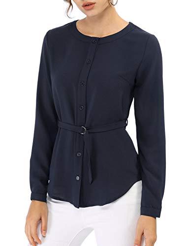 Allegra K Women's Crew Neck Long Sleeve Button Down Belted Casual Blouse Shirt XL Dark ()