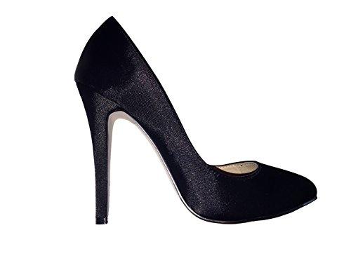 Franchini & Co. Womens Elizabeth Black Satin & Leather Pump Shoes Stilettos -For Evening, Bridal Party, Wedding, Womens Fashion Apparel Black
