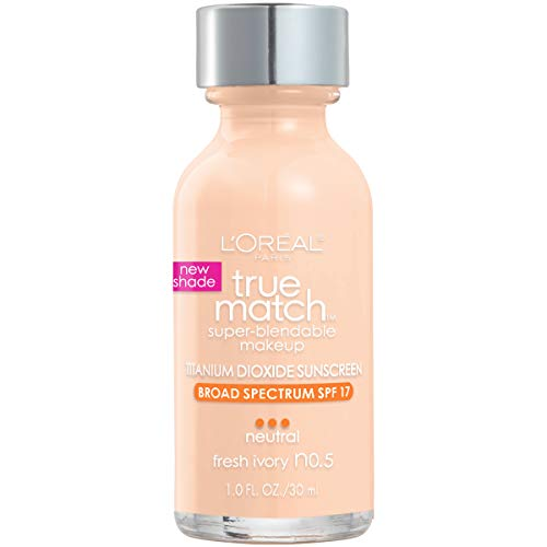 L'Oreal Paris Makeup True Match Super-Blendable Liquid Foundation, Fresh Ivory N0.5, 1 Fl Oz,1 Count