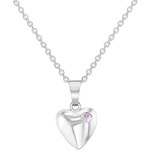 Rhodium Plated Small Pink Crystal Heart Kids Pendant Necklace 16''