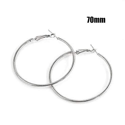 Hot Sale Hoop Earrings 40Mm 60Mm 70Mm Big Smooth Circle Earrings Basketball Loop Earrings For Women Jewelry Oorbellen 70mm Silver