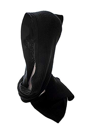 - Knitting Hooded Scarves Crochet Winter Beanie Hat Earflap Knitted Cap Long Shawl for Ladies Men (Black)