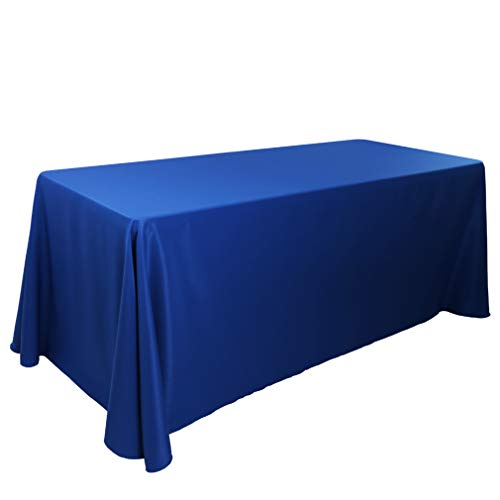 E-TEX 90x132-Inch Oblong Tablecloth, 100% Polyester Washable Table Cloth 6Ft. Rectangle Table, Royal Blue