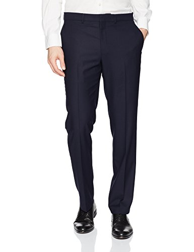 Kenneth Cole REACTION Men's Techni-Cole Stretch Slim Fit Suit Separate Pant (Blazer,  and Vest), Navy, 33X32