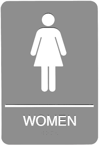 Headline Sign 5217 ADA Women's Restroom Sign with Tactile Graphic, 6 Inches by 9 Inches, Light (Sign Womens Light)