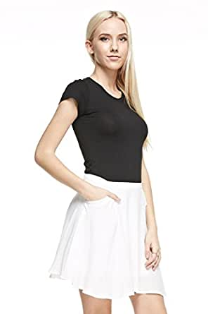 Juniors Woven Solid A Line Skater Mini Skirt with Pockets White Small
