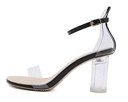 Haut Cristal Aisun Talon Femme Bout Bloc Ouvert Mode Noir Sandales UqqT0x7