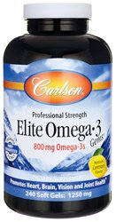 Carlson Elite Omega 3 Gems, 1250mg, Lemon Flavored, 240 Softgels