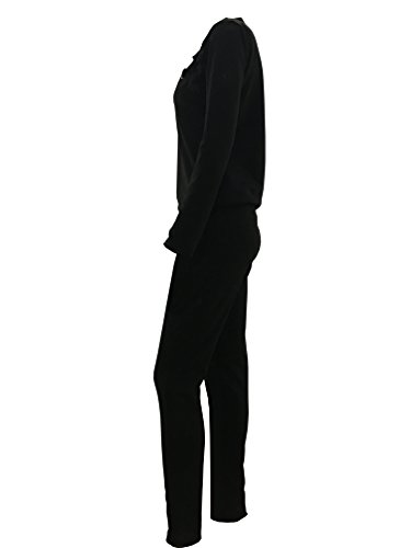 Dooxi Mujer Chándal 2Pcs Conjuntos Deportivos Manga Larga Casual Sudaderas + Largo Pantalones Negro