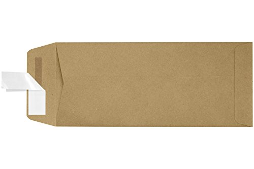 #10 Open End Envelopes w/Peel & Press (4 1/8 x 9 1/2) - 100% Recycled - Grocery Bag Brown - (50 Qty.)