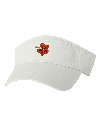 - Go All Out Adjustable White Adult Hawaiian Flower Hibiscus Embroidered Visor Dad Hat