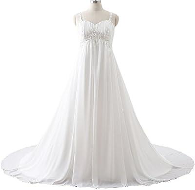 Maricopyjam Women's Beaded Spaghetti Sweetheart Applique Empire Plus Size Long Wedding Dress