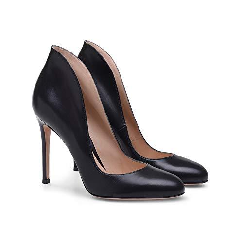 Antidérapant Hauteur Du Navettage Talon Chaussures Confortable Pompes Femmes À Bureau Talon Black Design 12Cm Hauts Talons Tête Stilettos Ronde 8Zn0E1