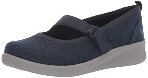 Clarks Women's Sillian 2.0 Soul Mary Jane Flat, Navy Textile, 90 M US