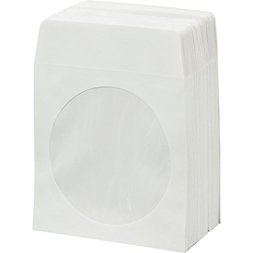BestDuplicator White Cd/DVD Paper Media Sleeves Envelopes with Flap and Clear Window (Pack of -
