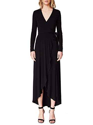 Nicole Miller Women's St. Matte Jersey Wrap Dress, Black, S