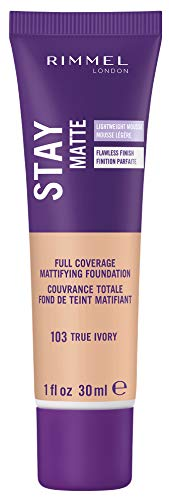 Rimmel Stay Matte Foundation True Ivory 1 Fluid Ounce Bottle Soft Matte Powder Finish Foundation for a Naturally Flawless Look