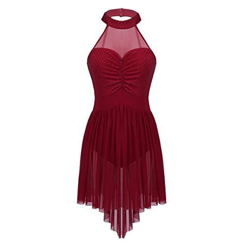 Agoky Women's Halter Lyrical Contemporary Dance Dresses Polka Dots High Low Skirt Ballet Skating Costumes Wine Red X-Small (Dress Adult Dance Halter)