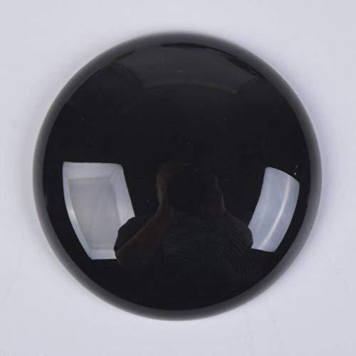 30 x 30mm Large Round Cabochon CAB Flatback Semi-Precious Gemstone Stone (Black Onyx - Black 30 Onyx Mm
