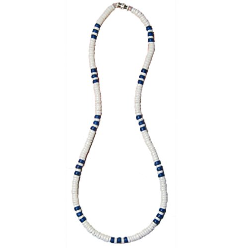 Native Treasure 17 inch Mens Smooth White Clam Heishe Puka Shell Surfer Necklace with Blue Wood Coco Beads Spots Good Karma from The Philippines - 5mm (3/16