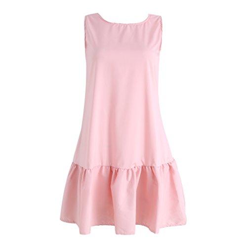 Dairyshop Vestido sin mangas del verano de las mujeres de las colmenas atractivas una línea partido mini playa corta del tubo Rosa