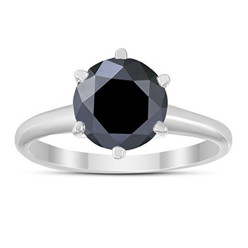 - 2 Carat Round Black Diamond Solitaire Ring in 14K White Gold