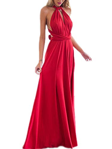 (PERSUN Women's Convertible Multi Way Wrap Maxi Dress Long Party Grecian Dresses)