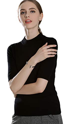 Panreddy Women's Cashmere Knitted High Crewneck Half Sleeve Sweaters BGDX01 Black L