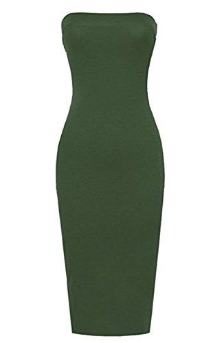 Black Strapless Mini Dress - FASHION BOOMY Women Stretch Strapless Basic Midi Tube Bodycon Dress (XXX-Large, Olive)