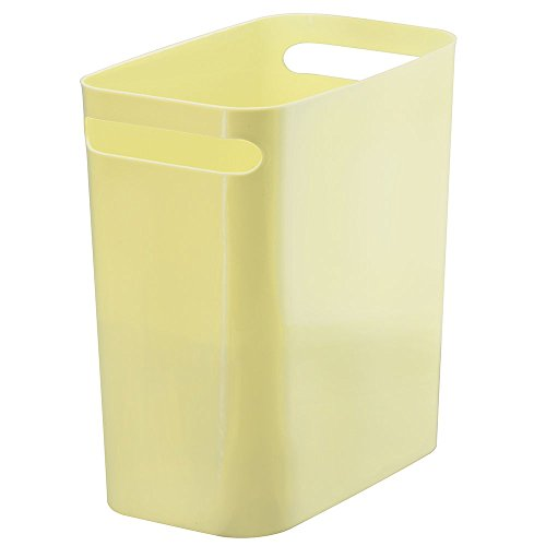 mDesign Slim Rectangular Small Trash Can Wastebasket, Garbage Container Bin with Handles for Bathrooms, Kitchens, Home Offices, Dorms, Kids Rooms — 12 inch high, Shatter-Resistant Plastic, Lemon (Yellow Trash Can For Bedroom)