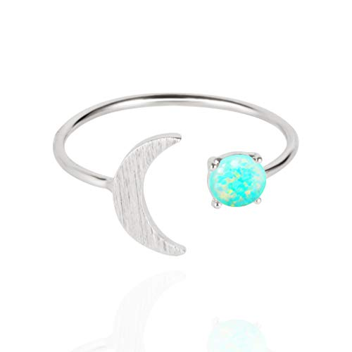 MUSTHAVE 18K Rose/White/Yellow Gold Plated Moon Opal Ring, White/Green/Pink Opal Ring, Adjustable Size (White Gold)