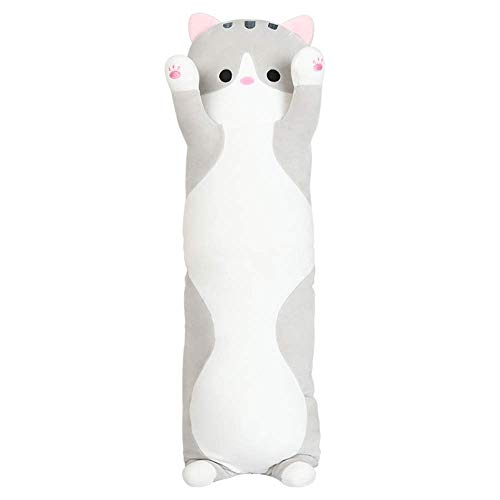 FONGFONG Elastic Long Cat Hugging Pillow 28 Inch Super Soft Plush Toy Big Stuffed Animal Dolls Cuddly Cushion Christmas Birthday Gifts for Toddler Kids Girls Adults Grey ()