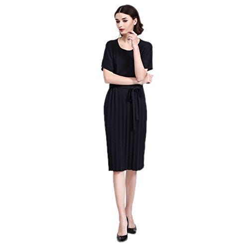 Robes Plissées Noires Cotylédons Pour Les Femmes Ramassent Les Robes Maxi Manches Courtes Du Cou
