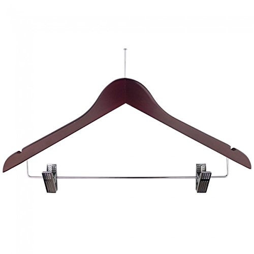 NAHANCO 60317BECRC Wooden Coordinate Hanger, 17'' Low Gloss Mahogany Finish with Ball Top Hook and Bright Chrome Hardware (Pack of 100)