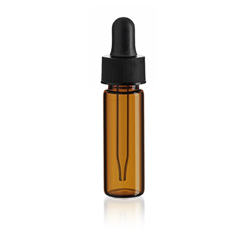 1 Dram (4 Ml) Amber Glass Vial - With Glass Dropper - Pack of 72 by True