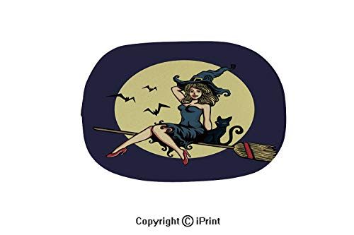 Oval Shaped Rug Pink Mat for Kids Room Soft Rugs for Bathroom Entrance Doormat,Cute Pin up Girl in Halloween Witch Costume Flying Broomstick Vector,15.7