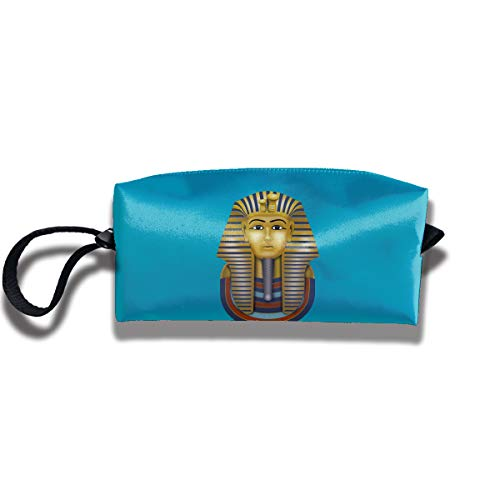 Cosmetic Bags With Zipper Makeup Bag Egyptian Tutankhamon King Tut Middle Wallet Hangbag Wristlet Holder ()