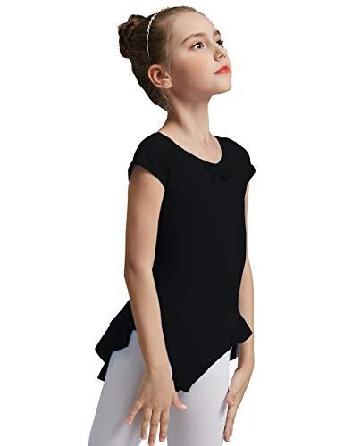 MdnMd Girls' Cap Sleeve Flutter Leotard Dress (12-14 / Large, Black)